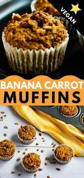 Diese einfachen veganen Bananen-Karotten-Muffins sind leicht, feucht und raffiniert zuckerfrei ….