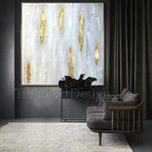 Original Gemälde mit Blattgold weiß und grau, minimalistischen Goldfolie abstrakte Malerei, strukturierte Leinwand, bereit, Kunst über Couch hängen