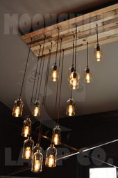 The New Yorker – 32 Light Recycled Bottle Custom Chandelier – Wood Slat Canopy – Modern Rustic Decor – Farmhouse Light – Vintage Style Bulbs