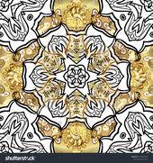 Pattern On White Black Colors Golden Stock Illustration 1575244276