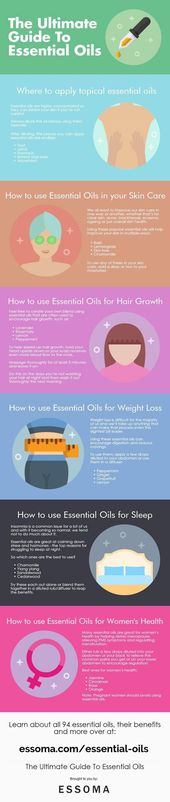 The Ultimate Guide to Essential Oils #skincareinfographic Learn about the benefi…