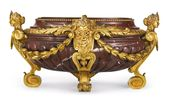 A Louis XIV style gilt bronze mounted rouge griott…
