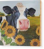 Sunflower Sally Wood Print de Laura Carey