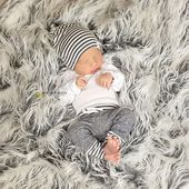Lulu & Roo Grey Stripes Slouchy Hat | Find Cute Terrycloth Jogger Outfits for Babies – Baby's  Are A Blessing.