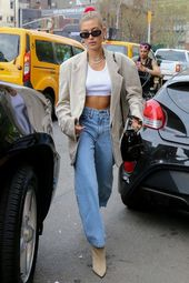 Hailey Bieber – denims maman – denims maman – inverno – fashion de rue
