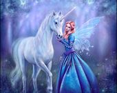 Rhiannon – Einhorn & Fairy Malerei von Rachel Anderson