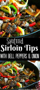 Sautierte Rinderfiletspitzen mit Paprika und Zwiebeln #steak #beef #beeftips #sirloin …