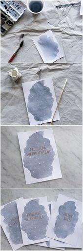 Aquarell Weihnachtskarten basteln