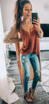 Women Dress Spring 2019 – brown tank top #spring #outfits