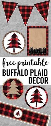 Buffalo Plaid Lumberjack Weihnachtsfeier Dekor, Geburtstagsfeier oder Babyparty f …   – Christmas Crafts