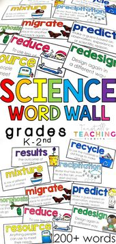 Science Word Wall Cards K-2nd