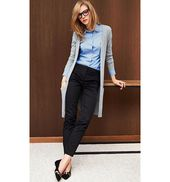 Business Outfit Long Grey Cardigan with Blue Shirt