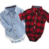 Baby's Funny Playsuit Newborns Onesie Baby Boy Cute Plaid Rompers Cotton Jumpsuit Onesie
