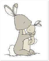Bunny Nursery Art–Bunny Mama And Baby Hug–Woodland Nursery–Nursery Art Print–Children Art Print–Kids Wall Art – Raccoon + Bunny