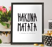 Hakuna Matata printable wall art for home decoration Hakuna Matata quote Disney Simba Lion King Disney Pumba quote Nursery decor Best seller