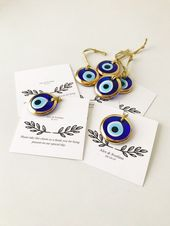 Wedding favors for guests, 100 pc, gold evil eye beads, evil eye wedding favor, greek wedding favors, blue evil eye favor, personalized card