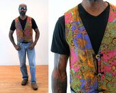 90s Batik Patchwork Vest M, Indonesian Quilted Boho Hippie Ethnic AsiaCraft Coin Buttons Waistcoat, Medium