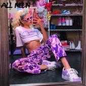 US $ 17.09 43% RABATT   ALLNeon Camouflage Lange Hosen Lila Lose Jogger Mode Frühling 2020 Streetwear Hosen Frauen Harajuku Hosen Y2K Outfits auf AliExpress   – Women Pants For Sale