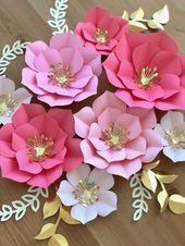 Papierblumen 5er-Set, Papierblumen für Baby-Zweige, Geburtstagsfeier-Dekor, Baby-Dusche-Dekor, Foto-Hintergrund-Dekor   – DIY und Selbermachen
