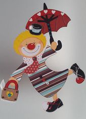Fensterbild-  Fliegender Clown   -Fasching-Karneval- Dekoration -Tonkarton!
