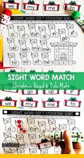 Bearbeitbare Christmas Sight Word Match – Teaching Language Arts ☺️