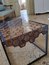Hexagon RIVER COFFEE TABLE with blue epoxy resin and pine wood
