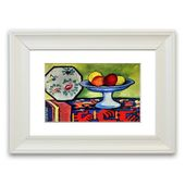 East Urban Home Still Life with Apple Peel and a Japanese Fan 'Framed Photographic Print | Wayfair.de