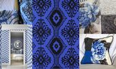 """Designers Guild Fabric, """"Pashan"""" Embroidered Blue Silk Curtain Fabric, Upholstery Fabric"""