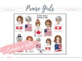 """Praise Girls """"Canada & USA"""". Perfect for journaling bibles or faith journals! Digital, printable stickers."""