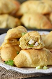 Make an easy recipe for crescent roll appetizers, filled with leftover turkey, s…