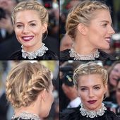 Hollywood celebrities in red carpet ceremony with braided hair
