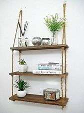 Details about Large Vintage Hanging Rope Shelf Rustic Wooden Country Display Unit Home Decor