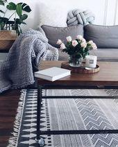 Hand-printed carpet block in ethnic style, black cream