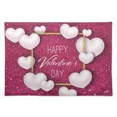 Valentine's Day White Heart Glitter Cloth Placemat | Zazzle.com