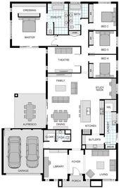Grundriss Freitag: Großes Einfamilienhaus mit Bibliothek oder 5. Schlafzimmer