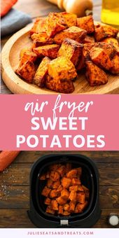 Roasted Air Fryer Sweet Potatoes are a quick and easy side dish recipe prepared …