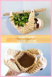 Luiaard planter haakpatroon, mini succulent planter, gehaakte hangende planter, dieren plante…