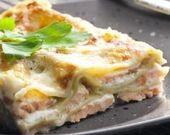 Recette de Lasagnes au saumon, poireaux et champignons, sauce béchamel légère