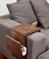 Multifunctional Couch Arm Table, Wood Arm Rest Tray, Couch Sofa Arm Rest