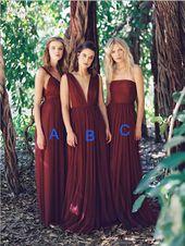 Elegant Mismatched A Line Chiffon Floor Length Long Bridesmaid Dresses, MD514