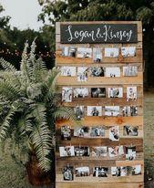 Engagement party photo display. DIY project. Engagement party ideas. Romantic en…