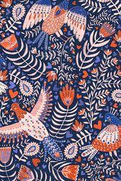 Colorful fabrics digitally printed by Spoonflower – Swedish Folk Art Birds   – Floral Designs