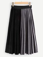 Jupe plissée bicolore en velours   – Products