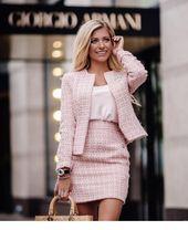 Pink mini skirt and blazer