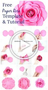 Creating your own paper roses is easy with these free large rose templates and s…