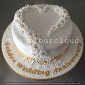 Empfindliche Gänseblümchen für einen goldenen Hochzeitstag.  – Hochzeitstorte
