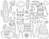 Lama Clipart Illustration Set, süße Alpaka ClipArt Bilder, digitale Briefmarken für Scrapbooking, Färbung von Hand gezeichnete Lama PNGs Berge