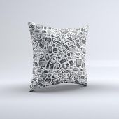 The Black & White Technology Icon ink-Fuzed Decorative Throw Pillow