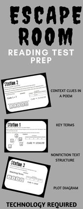 Escape room style reading test prep. Includes context clues station, non-fiction… – #clues #context #Escape #includes #nonfiction