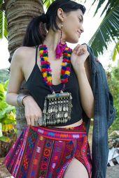 Thai handmade Ethnic Boho Thai Hill Tribe Textile Bohemian Short Mini Skirt